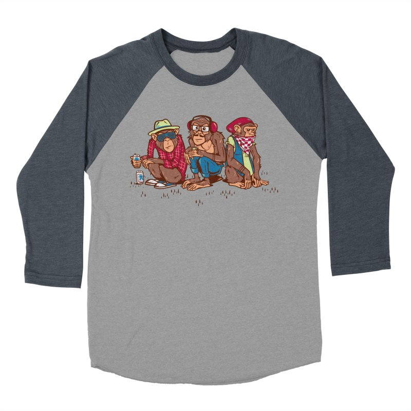 Three Wise Hipster Monkeys Men's Baseball Triblend T-Shirt by Ben Douglass