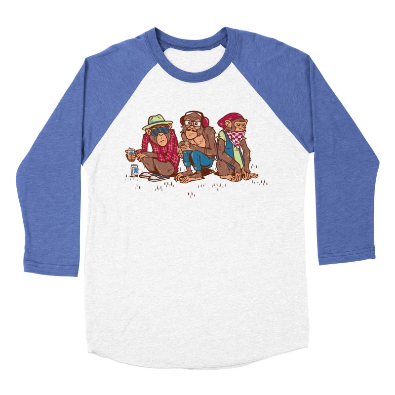 Three Wise Hipster Monkeys Men's Baseball Triblend Longsleeve T-Shirt by Ben Douglass