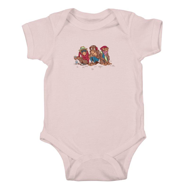 Three Wise Hipster Monkeys Kids Baby Bodysuit by Ben Douglass