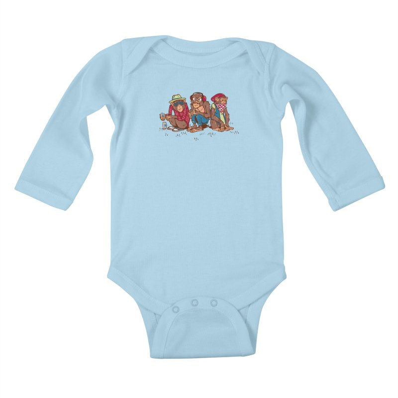 Three Wise Hipster Monkeys Kids Baby Longsleeve Bodysuit by Ben Douglass