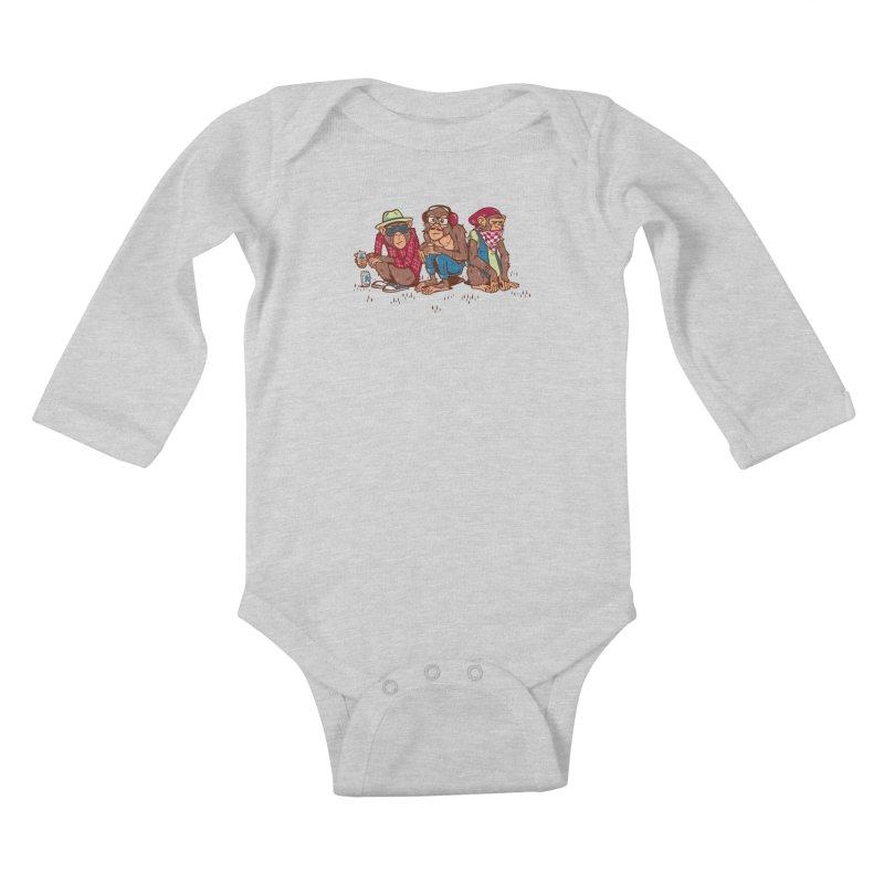 Three Wise Hipster Monkeys Kids Baby Longsleeve Bodysuit by Ben Douglass
