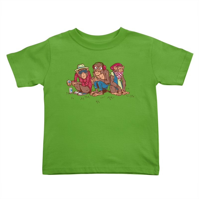 Three Wise Hipster Monkeys Kids Toddler T-Shirt by Ben Douglass