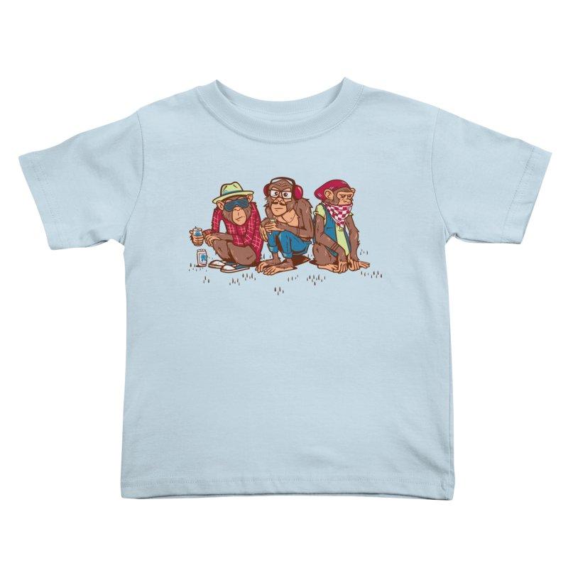 Three Wise Hipster Monkeys Kids Toddler T-Shirt by Ben Douglass