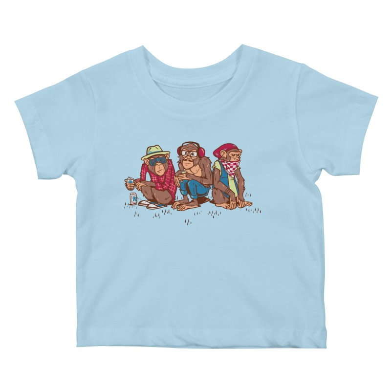 Three Wise Hipster Monkeys Kids Baby T-Shirt by Ben Douglass