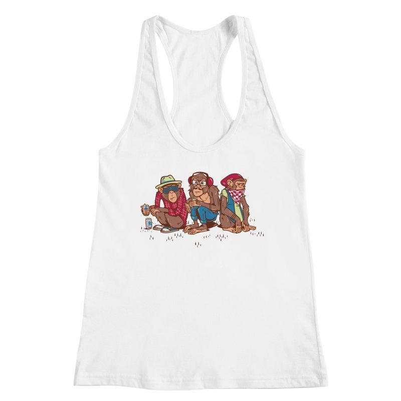 Three Wise Hipster Monkeys Women's Tank by Ben Douglass