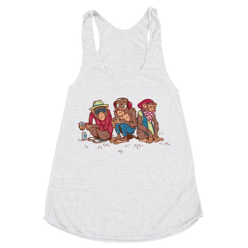Three Wise Hipster Monkeys Women's Racerback Triblend Tank by Ben Douglass