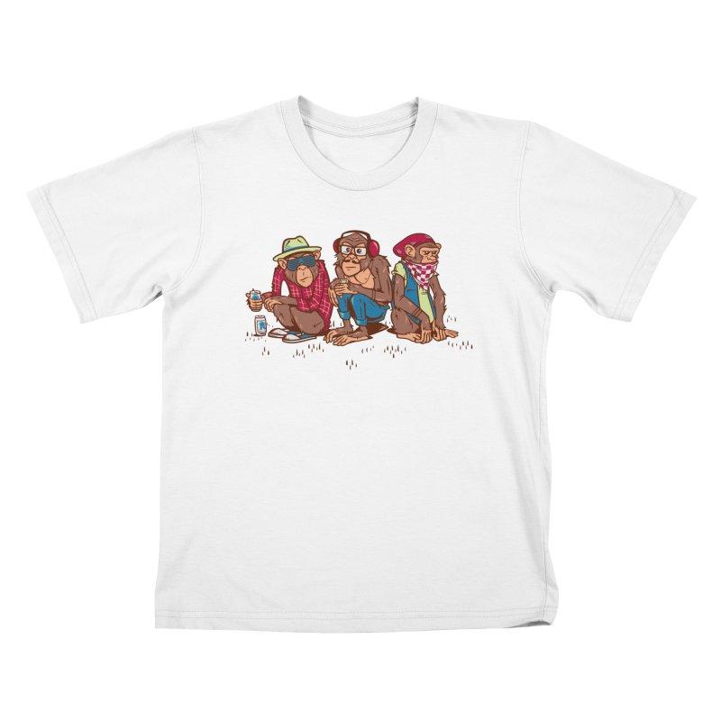 Three Wise Hipster Monkeys Kids T-Shirt by Ben Douglass