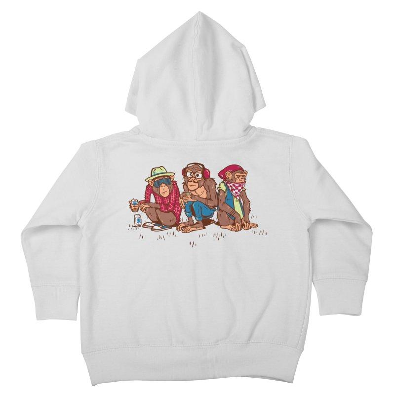 Three Wise Hipster Monkeys Kids Toddler Zip-Up Hoody by Ben Douglass