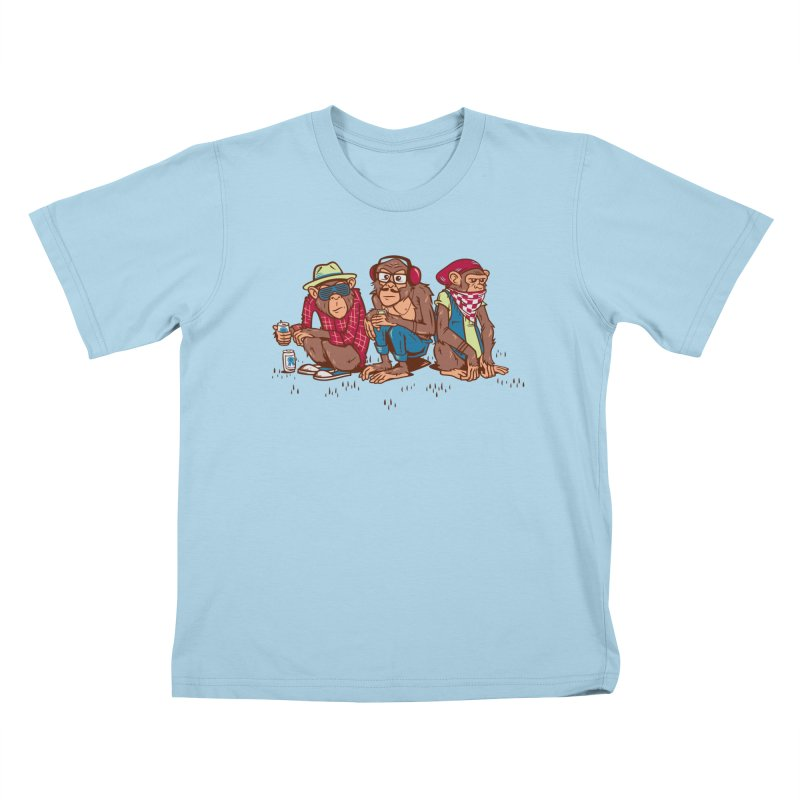Three Wise Hipster Monkeys Kids T-Shirt by Ben Douglass