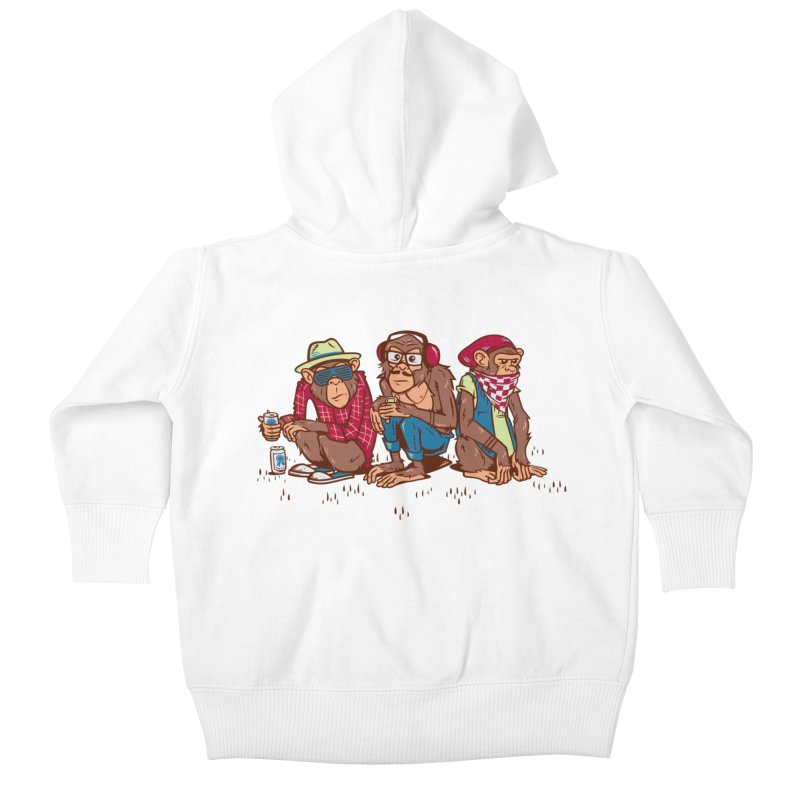 Three Wise Hipster Monkeys Kids Baby Zip-Up Hoody by Ben Douglass