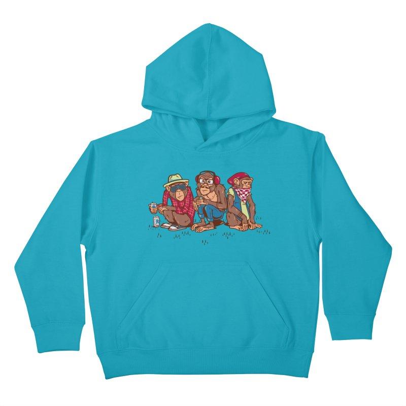 Three Wise Hipster Monkeys Kids Pullover Hoody by Ben Douglass