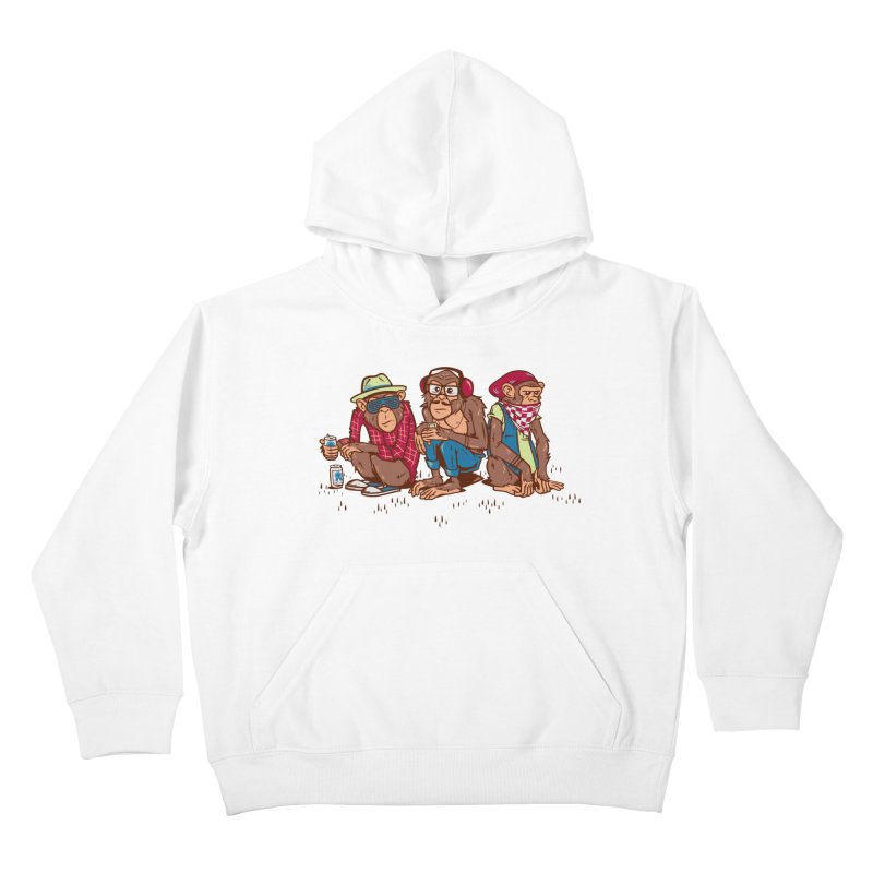 Three Wise Hipster Monkeys Kids Pullover Hoody by Ben Douglass
