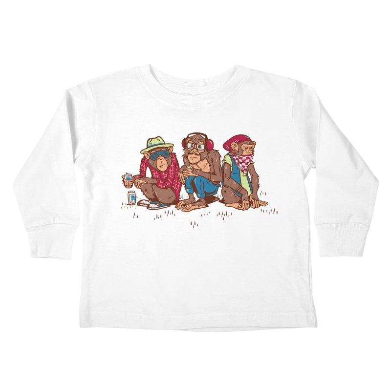 Three Wise Hipster Monkeys Kids Toddler Longsleeve T-Shirt by Ben Douglass