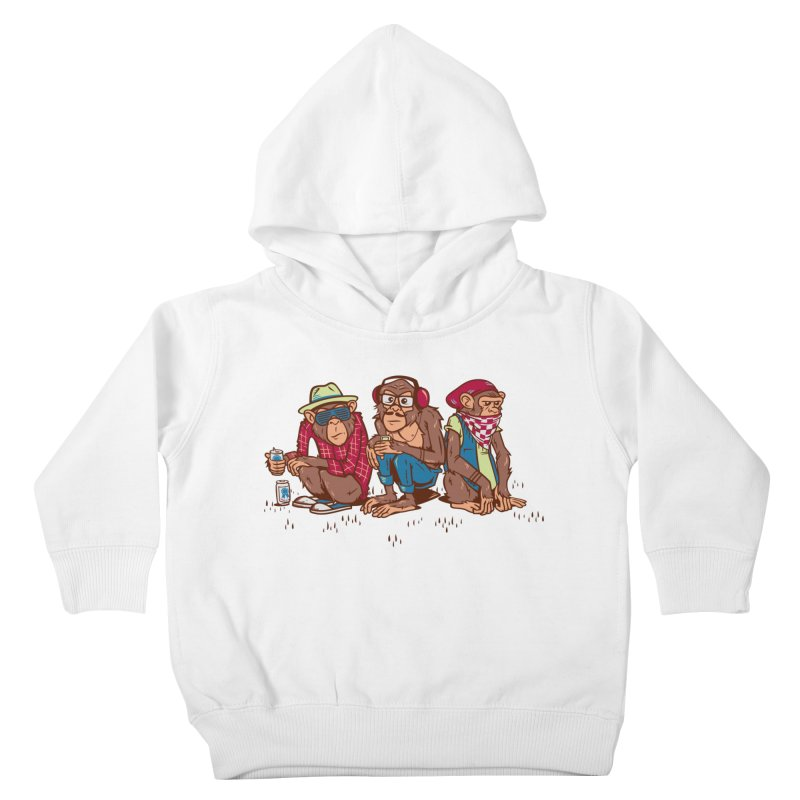 Three Wise Hipster Monkeys Kids Toddler Pullover Hoody by Ben Douglass