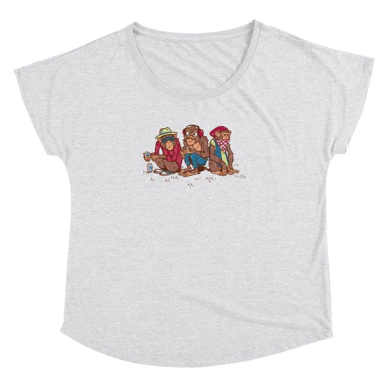 Three Wise Hipster Monkeys Women's Dolman Scoop Neck by Ben Douglass