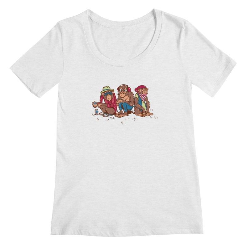 Three Wise Hipster Monkeys Women's Regular Scoop Neck by Ben Douglass