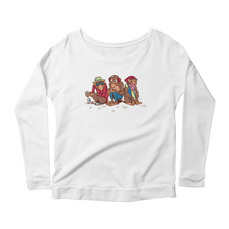Three Wise Hipster Monkeys Women's Scoop Neck Longsleeve T-Shirt by Ben Douglass