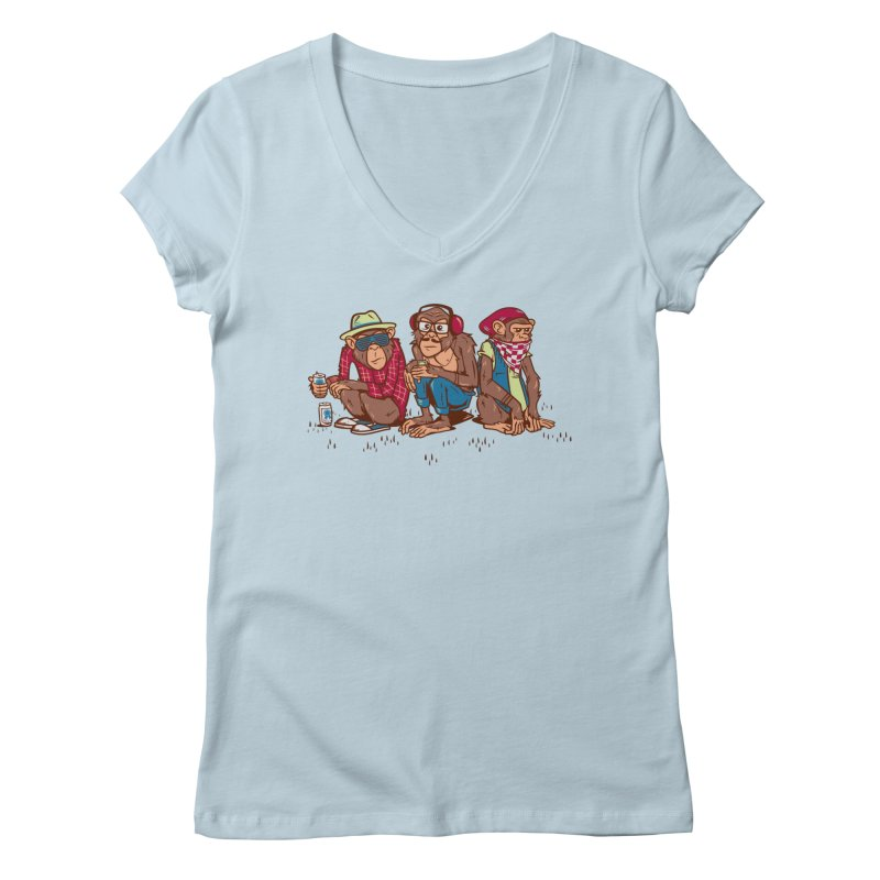 Three Wise Hipster Monkeys Women's Regular V-Neck by Ben Douglass