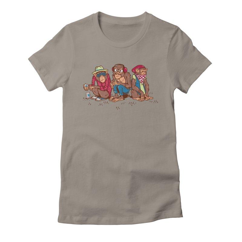 Three Wise Hipster Monkeys Women's Fitted T-Shirt by Ben Douglass