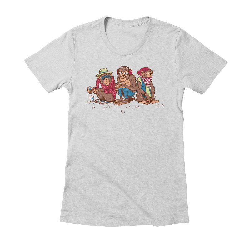 Three Wise Hipster Monkeys Women's Fitted T-Shirt by Ben Douglass