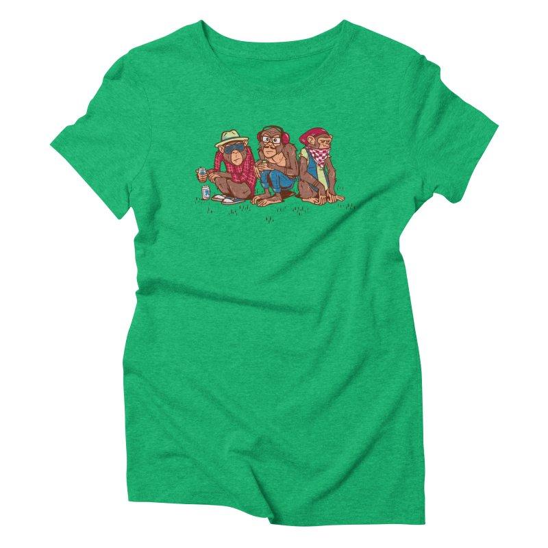Three Wise Hipster Monkeys Women's Triblend T-Shirt by Ben Douglass