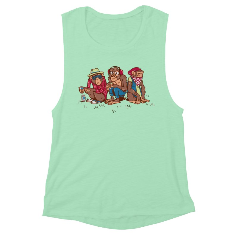 Three Wise Hipster Monkeys Women's Muscle Tank by Ben Douglass