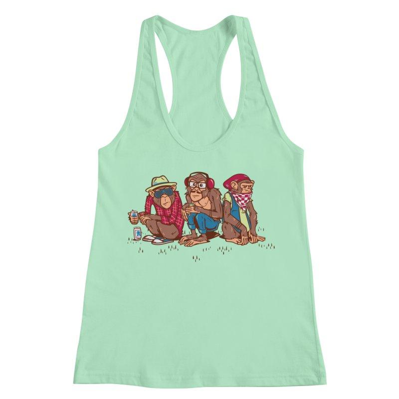 Three Wise Hipster Monkeys Women's Racerback Tank by Ben Douglass