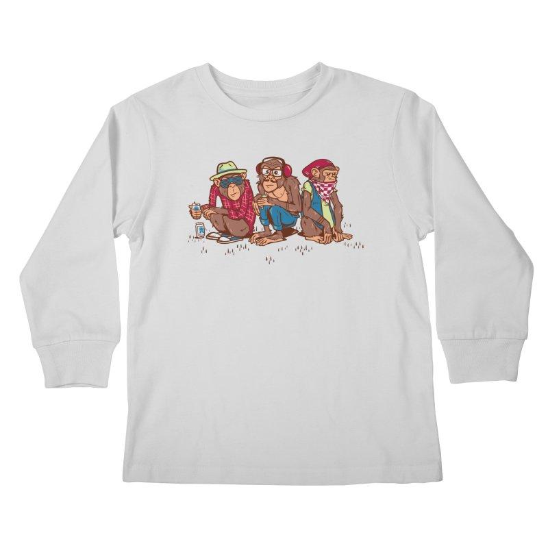 Three Wise Hipster Monkeys Kids Longsleeve T-Shirt by Ben Douglass