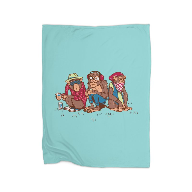 Three Wise Hipster Monkeys Home Fleece Blanket Blanket by Ben Douglass