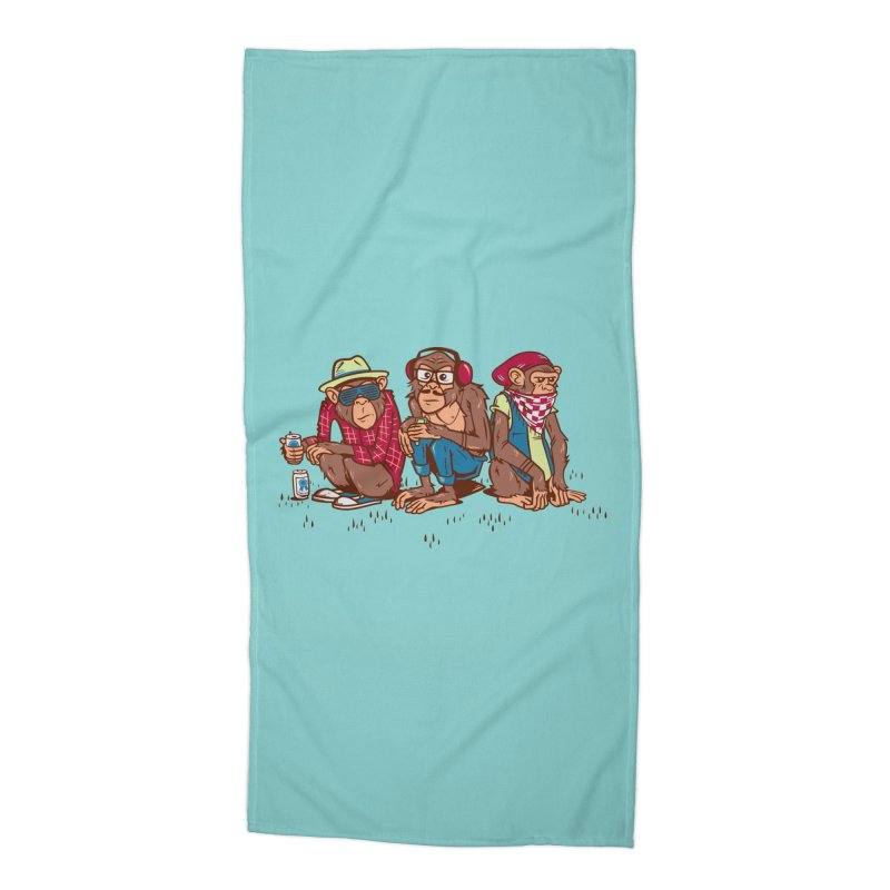Three Wise Hipster Monkeys Accessories Beach Towel by Ben Douglass