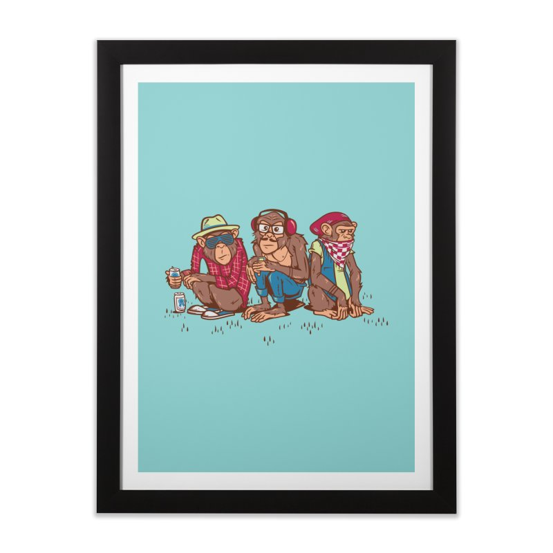 Three Wise Hipster Monkeys Home Framed Fine Art Print by Ben Douglass
