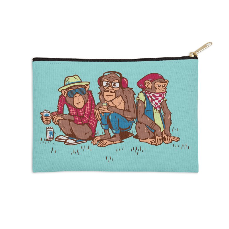Three Wise Hipster Monkeys Accessories Zip Pouch by Ben Douglass