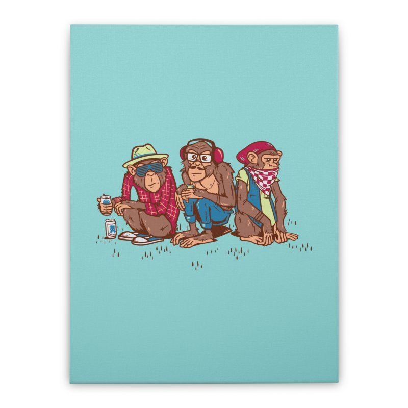 Three Wise Hipster Monkeys Home Stretched Canvas by Ben Douglass