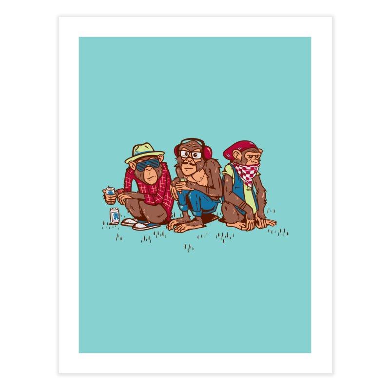 Three Wise Hipster Monkeys Home Fine Art Print by Ben Douglass