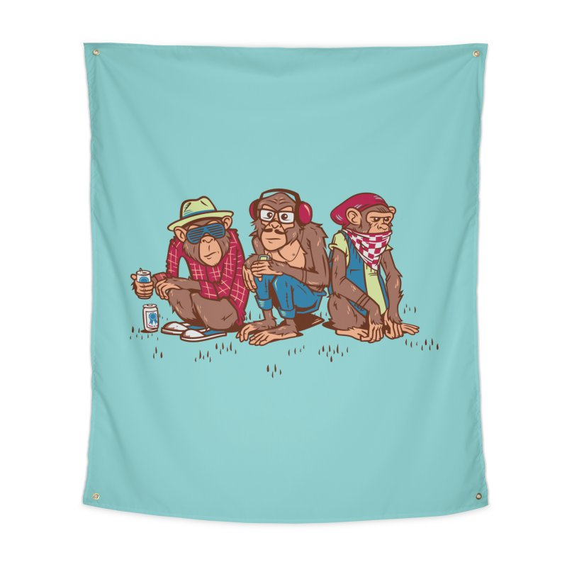 Three Wise Hipster Monkeys Home Tapestry by Ben Douglass