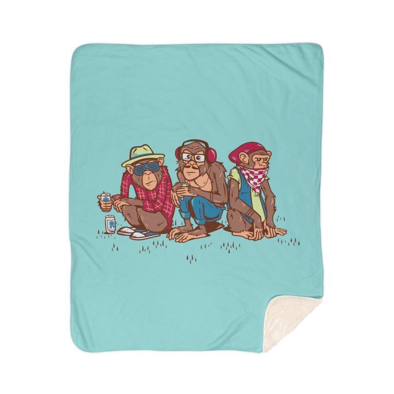 Three Wise Hipster Monkeys Home Sherpa Blanket Blanket by Ben Douglass