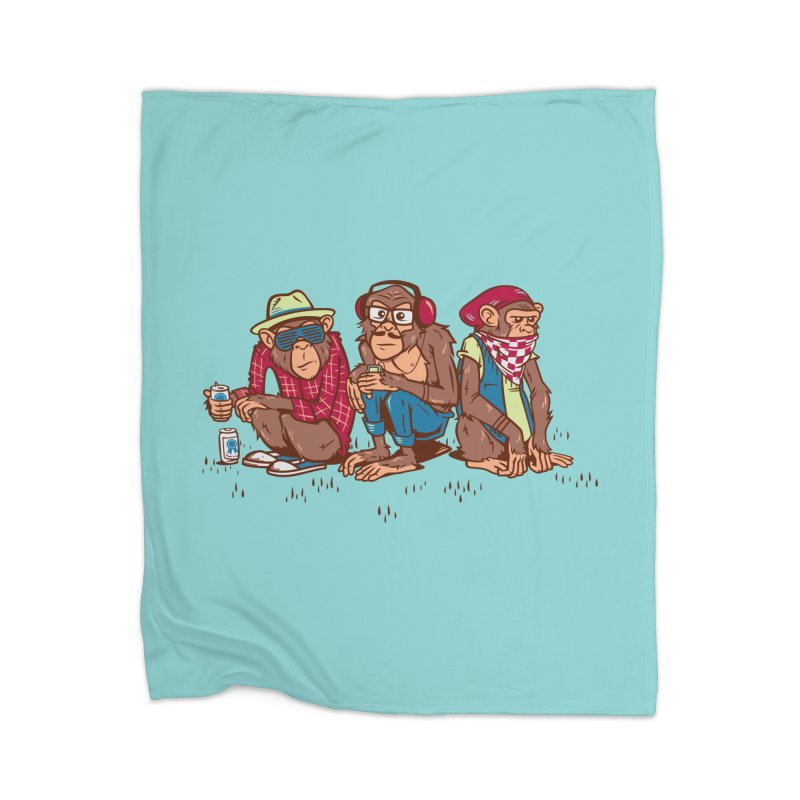 Three Wise Hipster Monkeys Home Blanket by Ben Douglass