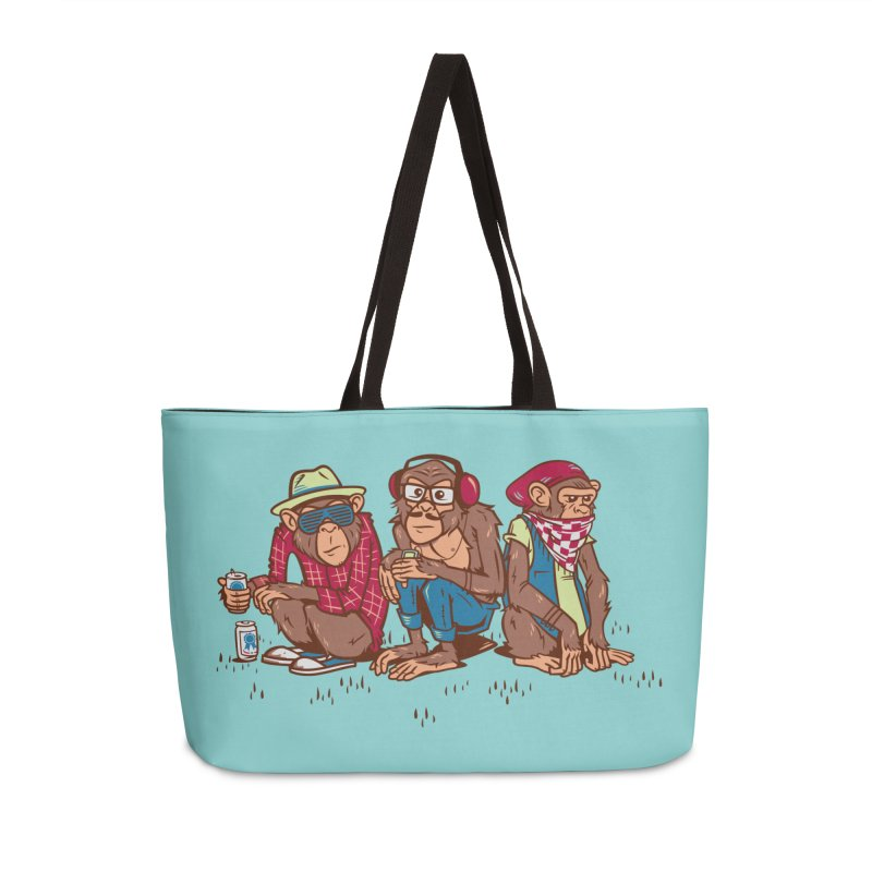 Three Wise Hipster Monkeys Accessories Weekender Bag Bag by Ben Douglass