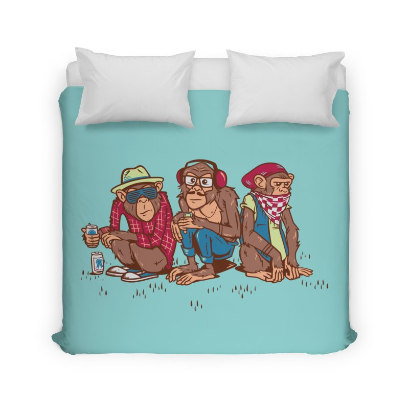 Three Wise Hipster Monkeys Home Duvet by Ben Douglass