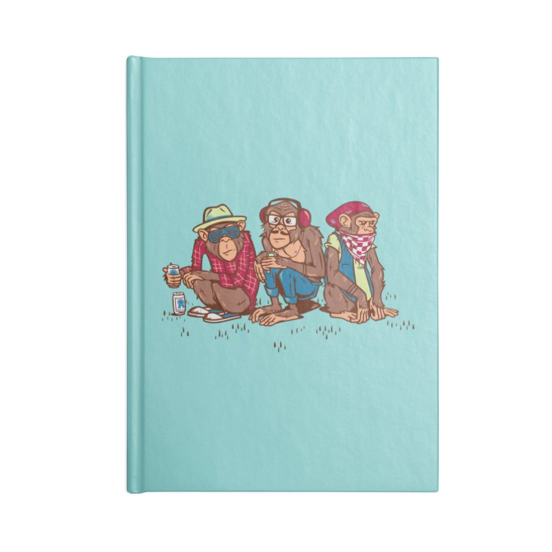 Three Wise Hipster Monkeys Accessories Lined Journal Notebook by Ben Douglass