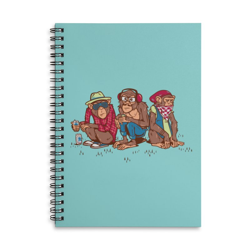 Three Wise Hipster Monkeys Accessories Lined Spiral Notebook by Ben Douglass