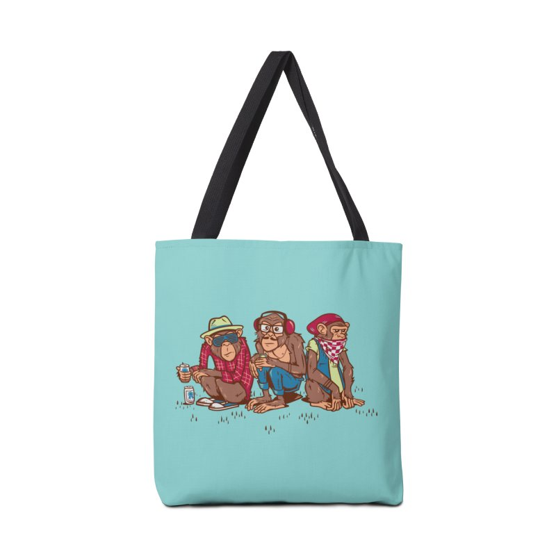 Three Wise Hipster Monkeys Accessories Bag by Ben Douglass