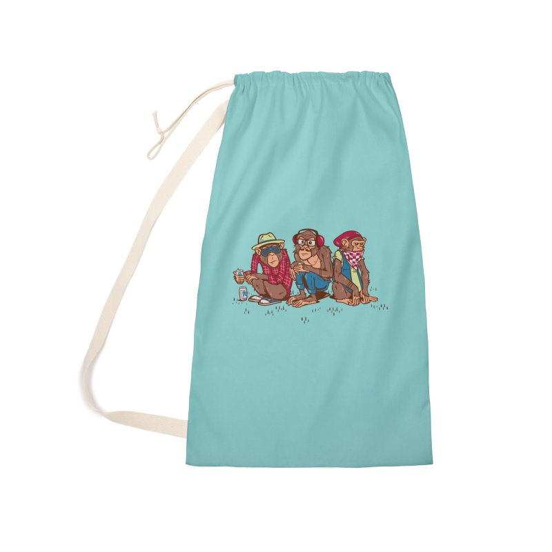 Three Wise Hipster Monkeys Accessories Laundry Bag Bag by Ben Douglass