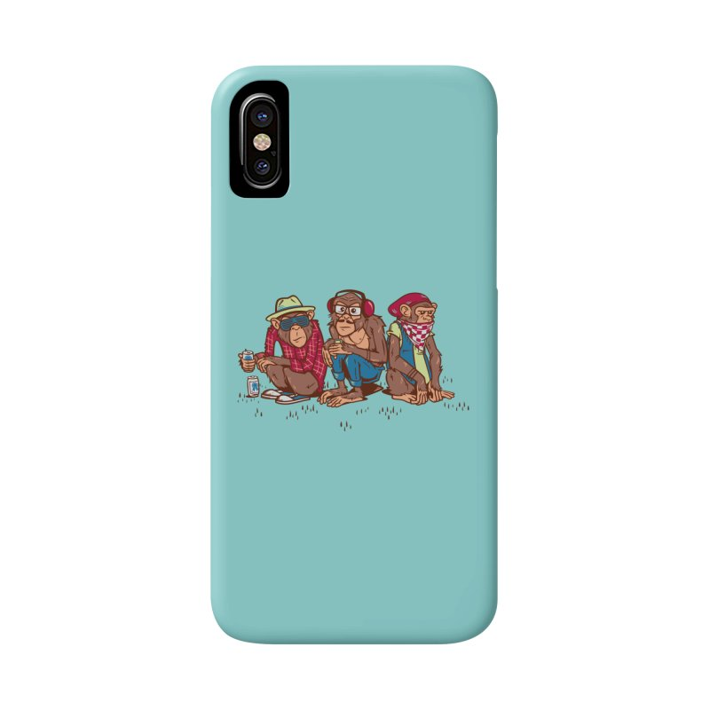 Three Wise Hipster Monkeys Accessories Phone Case by Ben Douglass