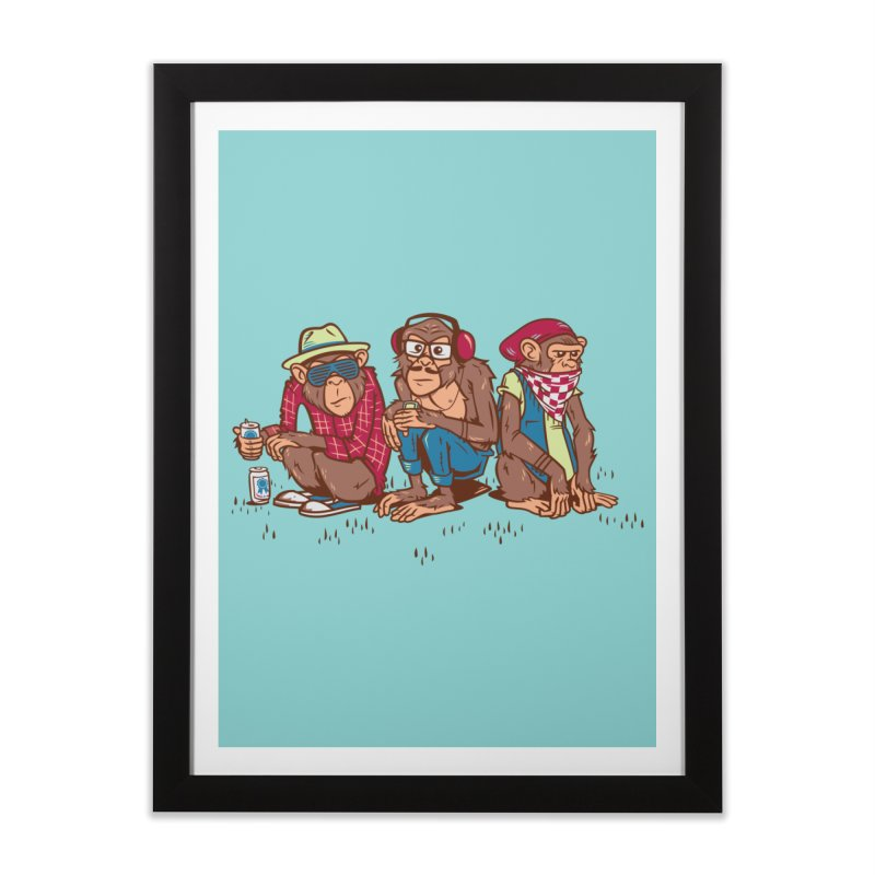 Three Wise Hipster Monkeys Home Framed Fine Art Print by Ben Douglass