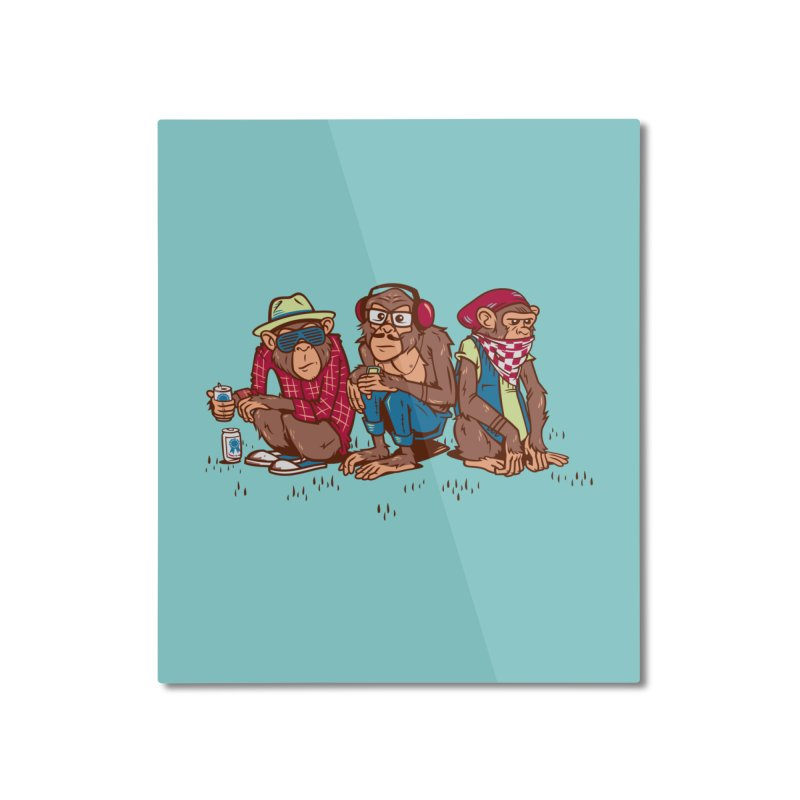Three Wise Hipster Monkeys Home Mounted Aluminum Print by Ben Douglass