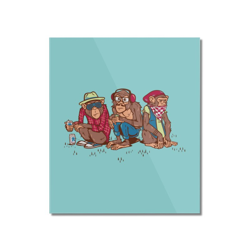 Three Wise Hipster Monkeys Home Mounted Acrylic Print by Ben Douglass