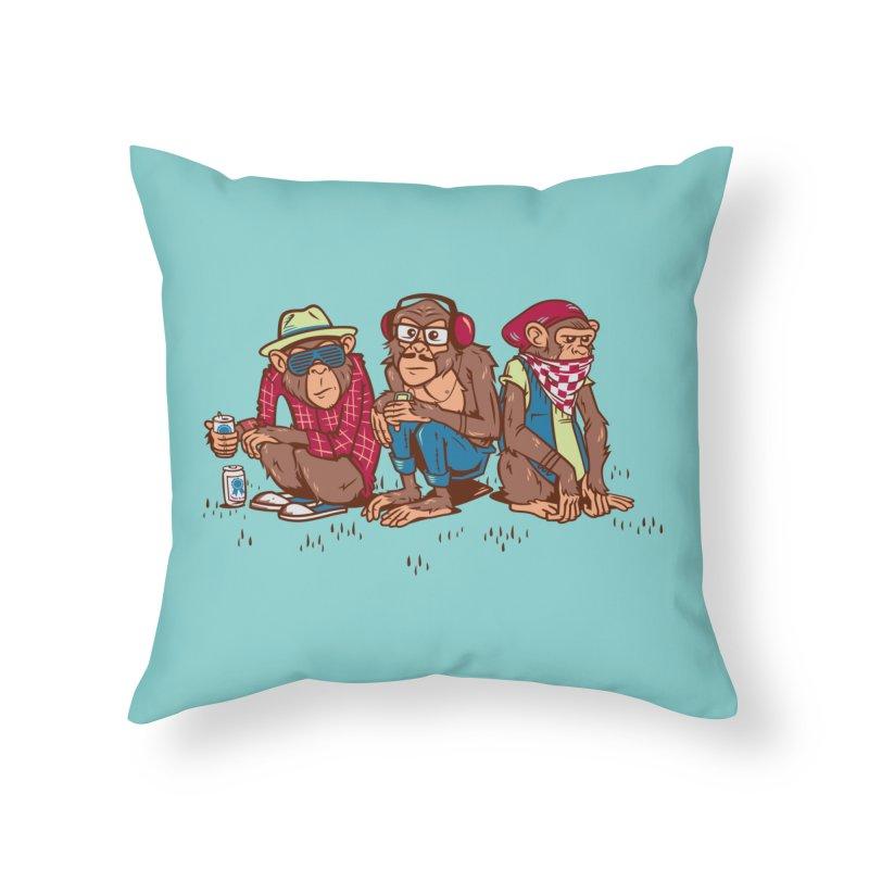 Three Wise Hipster Monkeys Home Throw Pillow by Ben Douglass
