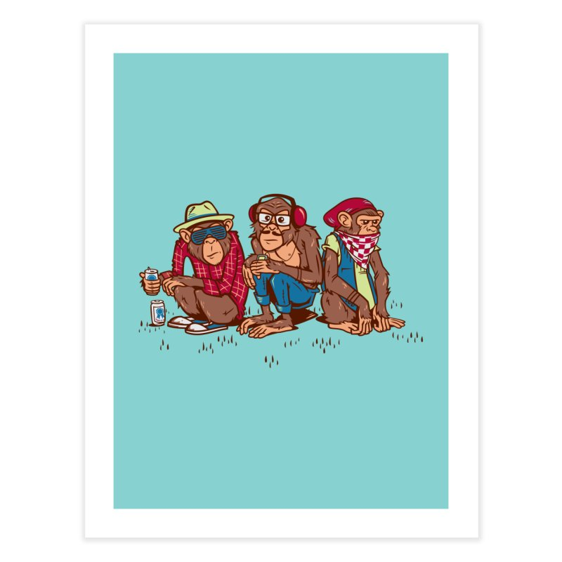 Three Wise Hipster Monkeys Home Fine Art Print by Ben Douglass