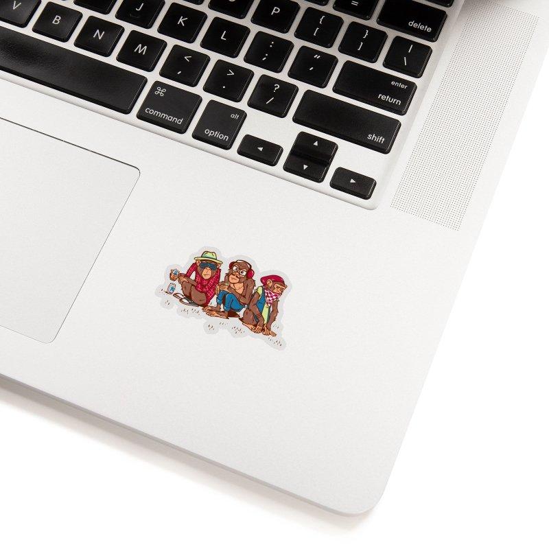 Three Wise Hipster Monkeys Accessories Sticker by Ben Douglass